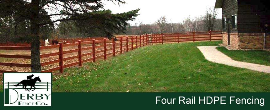 4 rail farm fence hdpe, pvc, vinyl, wood