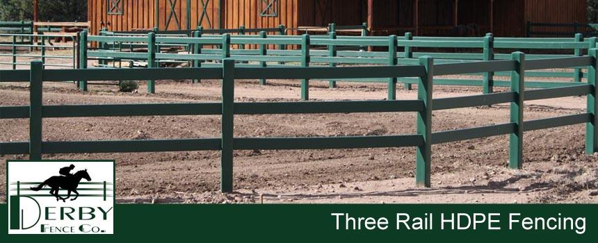 3 rail cattle fence hdpe, pvc, vinyl, wood